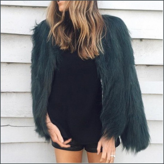 Long Shaggy Hair Dark Green Angora Sheep Faux Fur Medium Length Coat Jacket