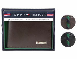 Tommy Hilfiger Men's Leather Credit Card Id Billfold Coin Rfid Wallet 31Tl130049