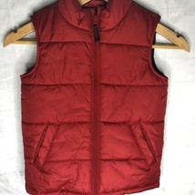 Lands End Boys Puffer Vest Size Small S 4 Red Full Zip With Pockets - $20.56