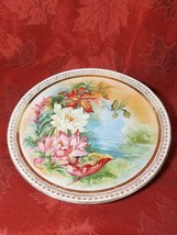 "DRESDEN CHINA LARGE PLATE ROSES GOLD TRIM Large 13"" Plate by Dresden"