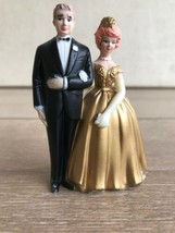 Vintage Wilton Wedding Cake Topper Bride Groom Golden Anniversary W-82 C... - $12.86
