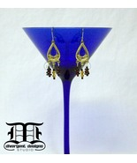 Gold Tear Drop Dangle Earrings w/ Garnet, Citrine & Iridescent Beads - $19.98