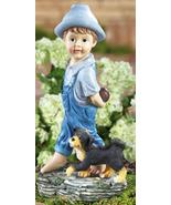 Playing Catch Boy & Dog Gard... - $21.50