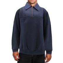 Men's Half Zip-Up Collared Sweatshirt Warm Lightweight Pullover Sweater image 2