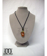 Red Orange Swirl Agate Pendant Necklace with Moss Green, Citrine & Gold ... - $19.99
