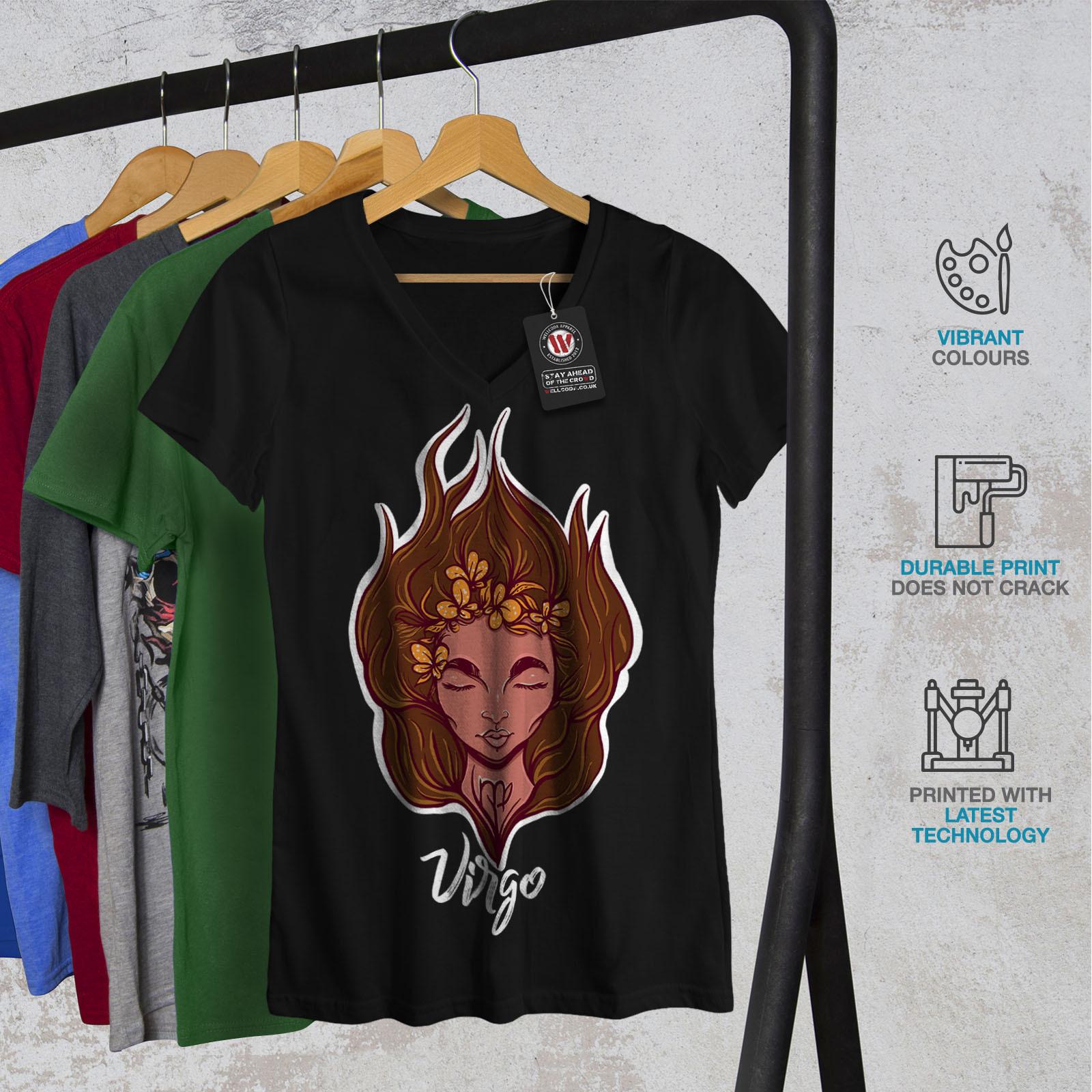 Virgo Shirt Zodiac Sign Women V-Neck T-shirt image 2