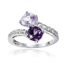 Ice Gems Sterling Silver Genuine African Amethyst, Amethyst and White To... - $28.99
