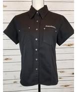 Harley-Davidson Womens Black Denim Riding Shirt Short Sleeve Star Studs ... - $24.98