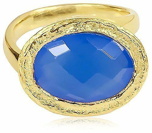 Saachi Color Oro Ovale Blu Calcedonio Ovale Asimmetrico Anello, Misura 6