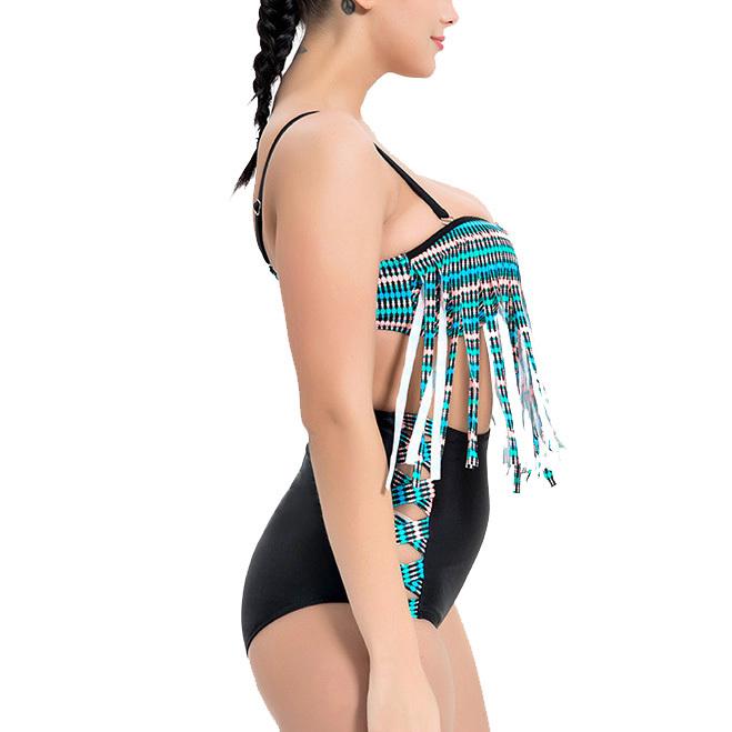 Women's Plus Size Padded Tassel High Waist Two Pieces Bikini Set