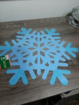2 Christmas House Blue Snowflakes Christmas decoration, placemat Felt w/ Glitter - $13.81
