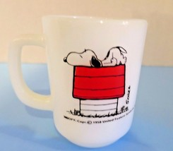 Snoopy Coffee Mug Fire King I Think I'm Allergic To Morning Vtg Anchor Hocking - $37.15