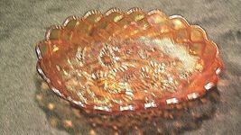 Vintage orange oval Carnival Glass with flower and diamond pattern AA19-CD0018 image 5