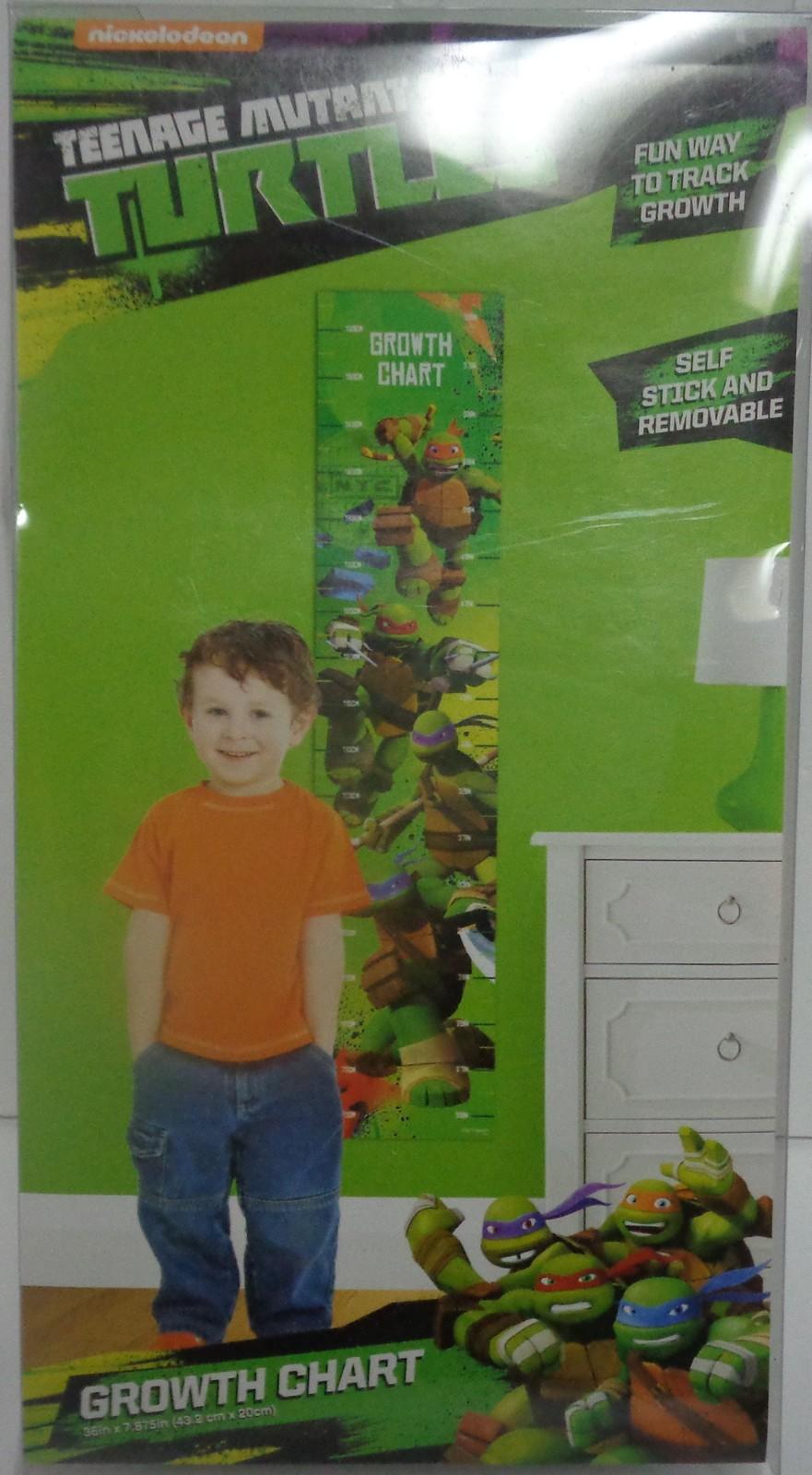 Nickelodeon Teenage Mutant Ninja Turtles Growth Chart NIB Self Stick & Remove