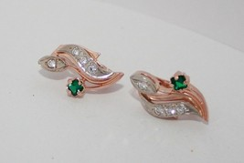 Earrings Rose Gold 14K Vintage Russia USSR Soviet fine jewelry diamond e... - $402.93