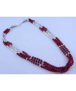 Garnet Beaded Necklace Jewelry 42 Gr. F-468-23 - $9.91