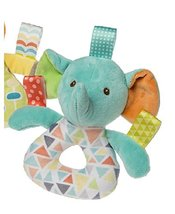 MM Mary Meyer Baby Girl Boy Taggies Pretty Prints 6 inches Rattle (Eleph... - $11.99