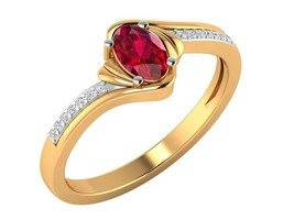 14kt Yellow Gold Jewelry 0.65 ct Certified Diamond Natural Ruby Ring - $338.22