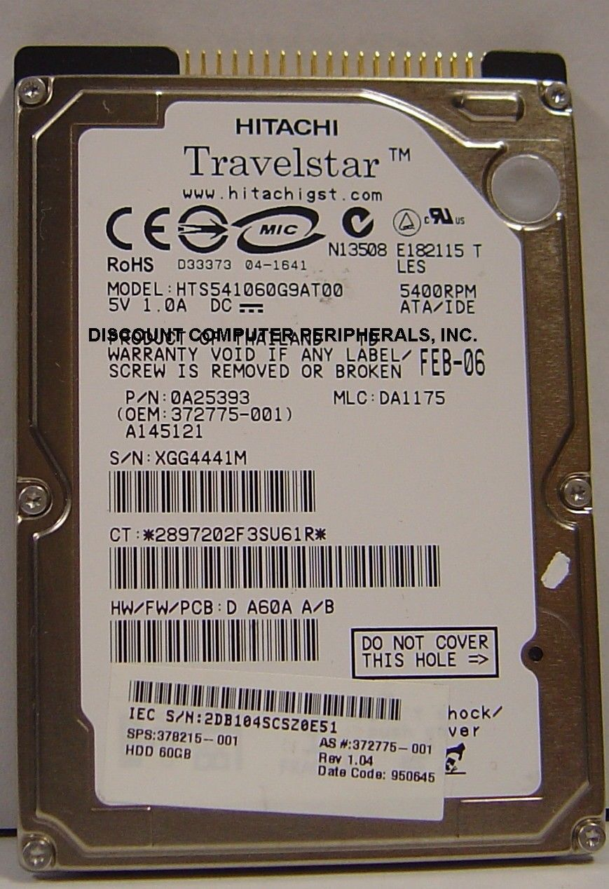 """60GB IDE 2.5"""" drive Hitachi HTS541060G9AT00 Tested Free USA Ship Our Drives Work"""