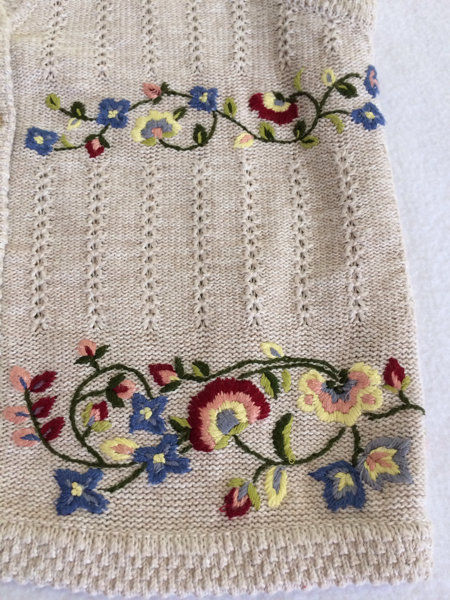 Marisa Christina S M Blue Floral Fabric Back Tan Oatmeal Sweater Vest image 2