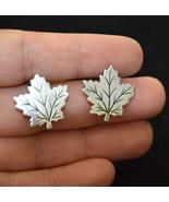 Vintage sterling silver earrings, leaf stud earrings, clip on earrings (V324) - $23.99