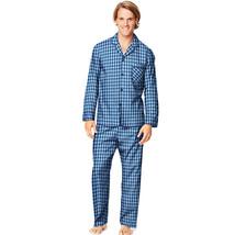 Hanes Men's Woven Pajama Set Long Sleeve & Pants Black Blue Plaid Size Small  - $19.79
