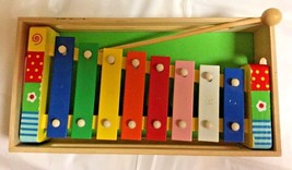 Toy Xylophone Wood Box Mallet Educational Toy Makes Music Multi Color Wo... - $10.84