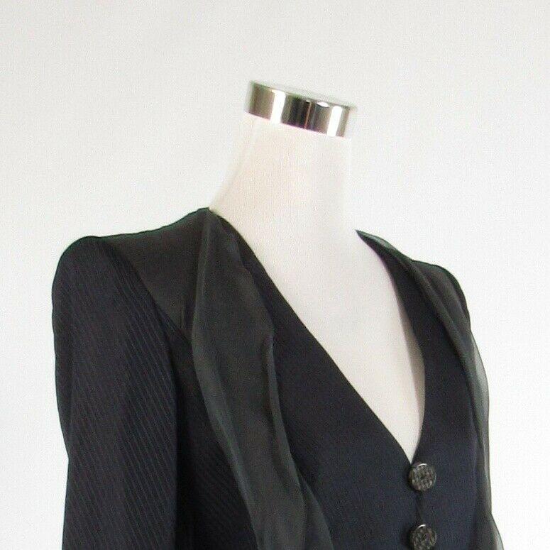 Navy blue gray pinstripe GIORGIO ARMANI long sleeve blazer jacket IT40 6
