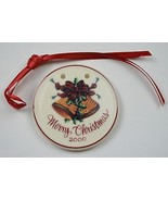 Longaberger Pottery Merry Christmas Tie-On Collectible Accessory Pottery... - $11.99