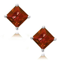 Garnet Square Princess Cut CZ Crystal 925 Sterling Silver Stud Earrings - $34.63+