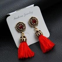 E0187 Vintage Crystal Earring Exquisite Handmade Red Black Gray Tassel E... - $7.12