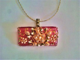 SOLD - Hand painted Indian glass pendant - $20.00
