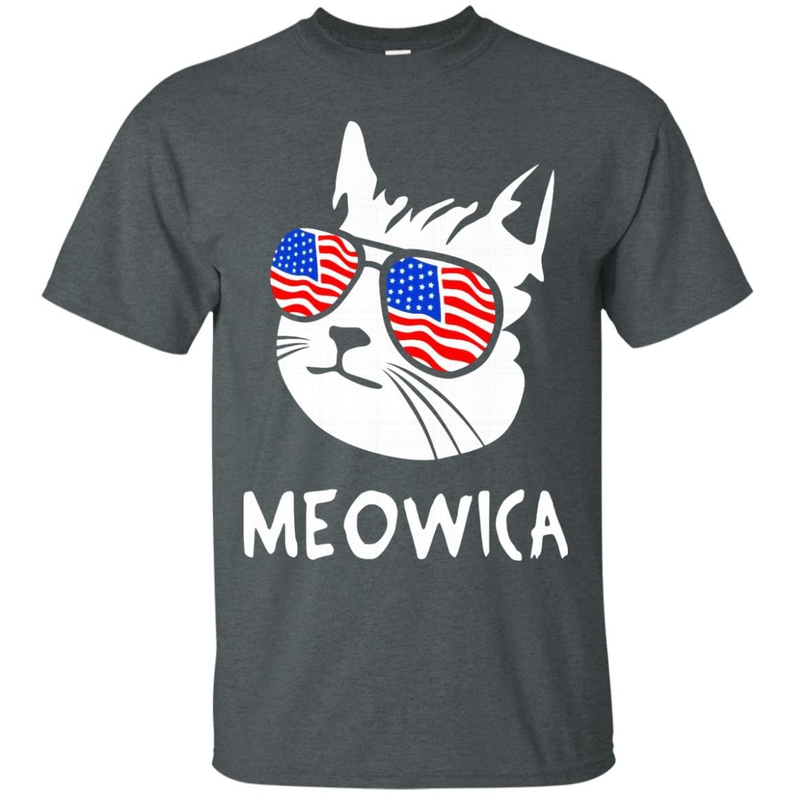 Funny Cat Meowica T Shirt USA Flag Glasses 4th of July