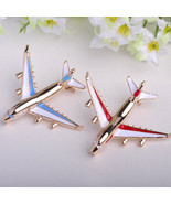 Attractive Red/Bue Enamel Gold Plated Airplane Shoulder Brooches For Vic... - $18.69