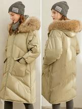 Winter Luxury Winter Fashion 90% Thick Quilted White Duck Down Jacket Elegant Ho image 2