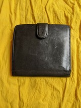 Vintage Coach Black Leather Kisslock Trifold Credit Card Wallet Coin Purse - $75.95