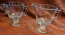 Vintage Clear Glass Footed Sugar and Creamer (Stemware like Base)