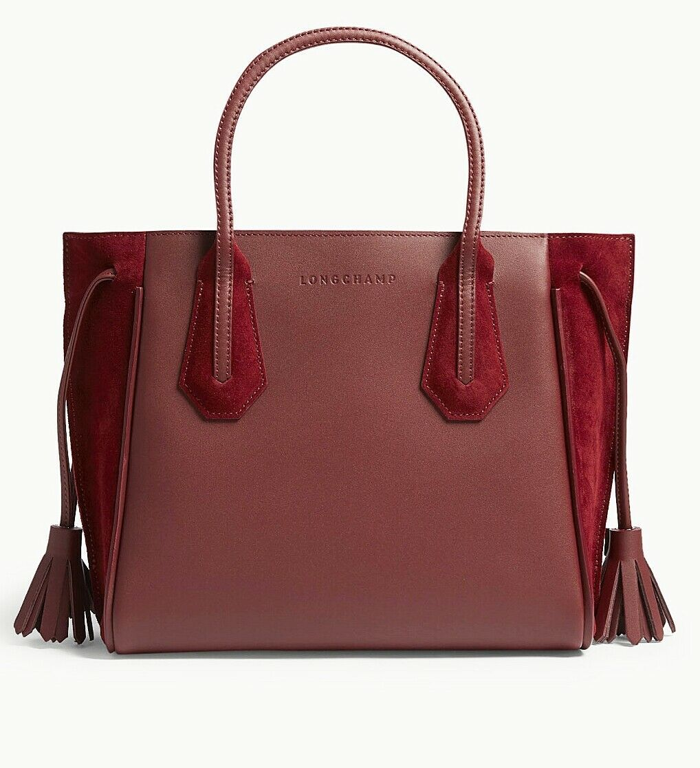 Primary image for NWT Longchamp Penelope Leather Shoulder Tote Bordeaux Wine Red $875+ AUTHENTIC