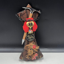 Germany wood carving man estate pipe black forest bell wall hanging pick... - $63.36