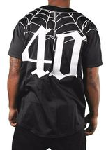 40 Oz New York Forty Ounce NYC Black Spider Web Baseball Jersey 03492F NWT image 3