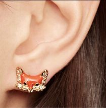 Kate Spade 12K Gold-Plated 'into The Woods' Fox Stud Earrings w/ Ks Dust Bag New - $28.99