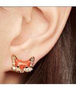 KATE SPADE 12K Gold-Plated 'Into The Woods' Fox Stud Earrings w/ KS Dust... - $28.99