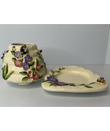 Bumble Bees Beehive Jar Candle Capper w/ Plate Flowers Home Interiors 2 Pc - $12.82
