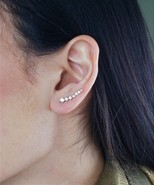 Ear Climber Silver or Gold Plated Crystal Comet Shooting Star Ear Cuff E... - $9.85