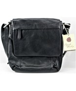 Osgoode Marley Black Leather Zipper Flap Crossbody Travel Purse Bag New - $128.69