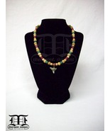 Red, Green & Natural Wood Bead Necklace w/ Shark Tooth Pendant & Gold Fi... - $14.98