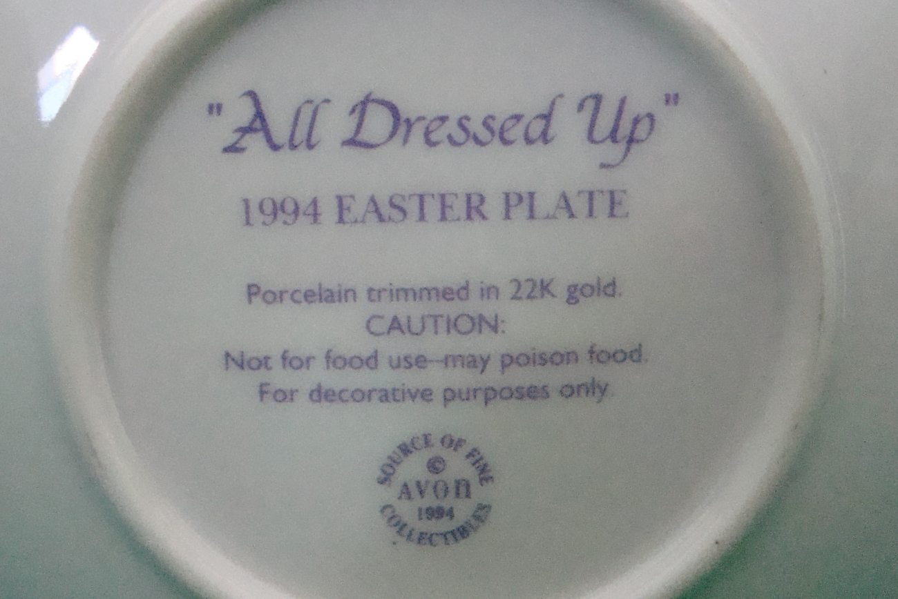 Avon Collectible Plate Easter 1994 All Dressed Up