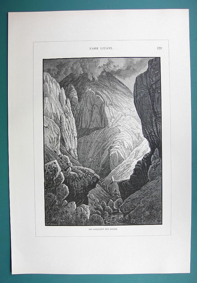Primary image for HOLY LAND Syria Gorge of Nahr Litany - 1883 German Engraving