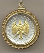 "German 1 mark ""Gold & silver Eagle"" coin pendant & 14k chain - $136.00"