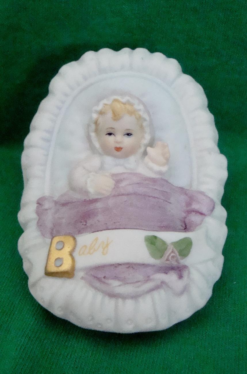 Enesco Baby in a Basket Figurine